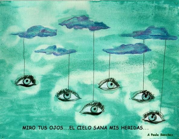 Página del libro MUJERES EN UN VERSO, ilustración del pintor español Diego López Granados.